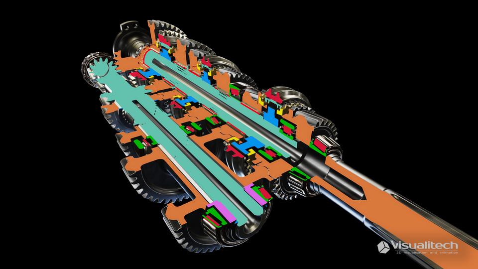 3d vizualizácia gearbox cut