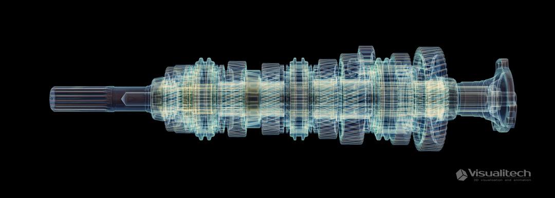 3d vizualizácia gearbox xray