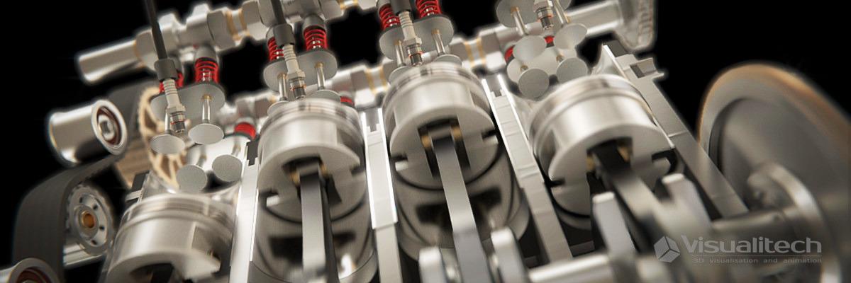 3d vizualizácia 4-stroke engine